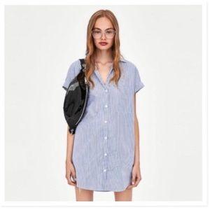 ZARA WHITE&BLUE STRIPED SHIRT DRESS XSMALL SIZE
